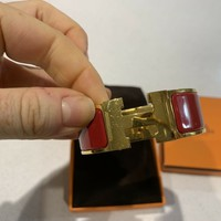 100% Authentic Hermes Bangle Red And Gold