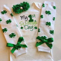 Baby girl First St Patricks Day outfit - st patricks day baby girl bodysuit - clover outfit - clover legwarmers - newborn st patricks day