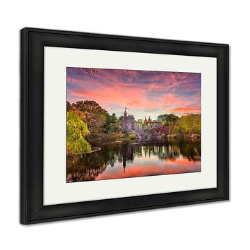 Framed Print, Central Park New York City At Belvedere Castle During An Autumn Twilight