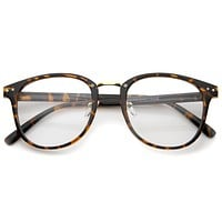 Vintage Indie Horned Rim Clear Lens Glasses A370