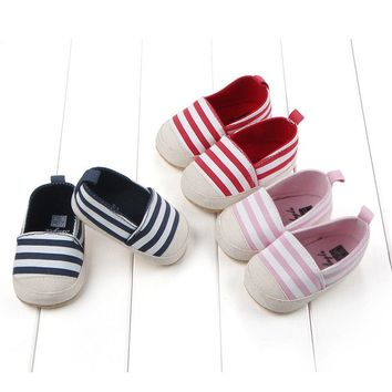 Baby Canvas Striped Boat Shoes