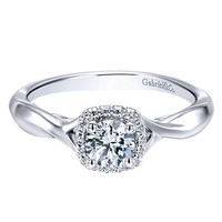 14K White Gold .33cttw Crossover Halo Diamond Engagement Ring