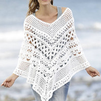 Summer Poncho Lace crochet poncho CHOICE of COLORS handknit poncho white poncho boho poncho beach poncho fashion Drops handmade by Lilith