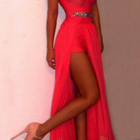 Red Chiffon High Low Homecoming Dresses/ Sexy Prom Dresses/Formal Dresses/ AM293