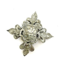 Heraldic Maltese Cross Brooch, Family Crest, Layered, Antiqued Silver Tone Metal, Intricate Design, Vintage Jewelry, Statement Brooch