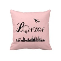 London Eye British Theme Pink Pillow/Cushion from Zazzle.com