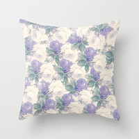Lavender roses floral pattern Throw Pillow by Mercedes
