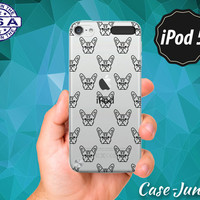 Black French Bulldog Pattern Dog Head Faces Cute Tumblr Inspired Rubber Transparent Clear Case For iPod Touch 5th Gen or iPod Touch 6th Gen