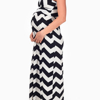 Black White Chevron Maternity Maxi Dress
