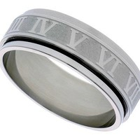 Surgical Steel 6mm Roman Numerals Spinner Ring Wedding Band, sizes 7 - 14