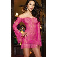 Hot Deal Cute On Sale Long Sleeve Tassels Sexy Lace Exotic Lingerie [6595700867]