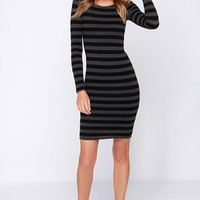 End of the Line Black and Grey Striped Long Sleeve Midi Dress
