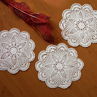 "Valentine Elite DOILIES - SET 6 Handmade CROCHET Doilies-  Collection- Round Placemat - Coaster - Natural and White Color - 8"" Inches"