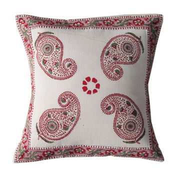 "16"" White Floral Indian Paisley Block Printed Decorative Throw Pillow Cover Sham"