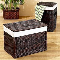 Isabella Dark Brown Willow Trunk or Hamper   Hampers and Laundry Baskets   World Market