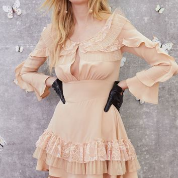 Claire Pleated Ruffle Mini Dress – For Love & Lemons