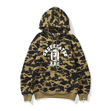 Bape camouflage print loose and fleece pullover hooded sweater