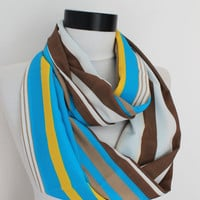 striped blue-white scarf,infinity scarf, scarf, scarves, long scarf, loop scarf, gift