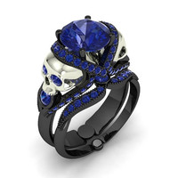 Unique Black and Silver Skull Engagement Ring