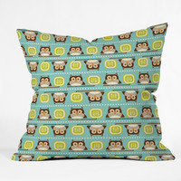 Heather Dutton Owl Town Teal Outdoor Throw Pillow