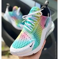 Hipgirls Nike Air Max 270 New Hot Sale Couple Gradient Rainbow Air Cushion Casual Sneakers