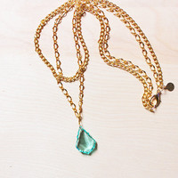 FROZEN RAINDROP - Crystal pendant // baroque // aqua blue green // seafoam // gold finish necklace // double strand // bridesmaid // holiday