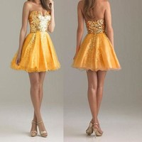 Yellow Patchwork Pleated Sequin Grenadine Bandeau Sleeveless Mini Dress