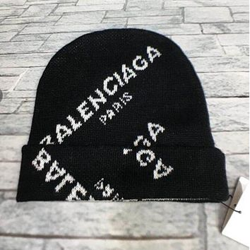 Balenciaga Popular Autumn Winter Women Men Knit Hat Cap Black