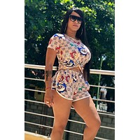 GUCCI Hot Sale Women Fashion Print Short Sleeve Top Shorts Sport Set Two-Piece
