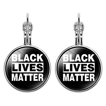 GBaoY 1 Pair I Can't Breath Black Lives Matter Earring, French Ear Hook Earrings Personality Unisex Fashion Jewelry with Pendant(style 01)