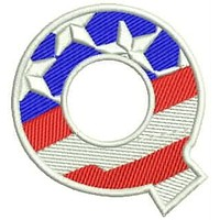 Q Alphabet Letters of US Flag Iron on Small Patch for Biker Vest ST-SB116-ALF