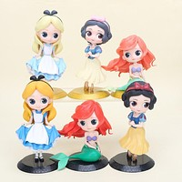 3pcs/lot Cartoon Cute Q Posket princess figure Snow white princess Alice in Wonderland Ariel The Little Mermaid PVC Figure Toy
