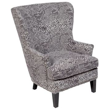 """Porter Medusa Ash Grey Wingback Accent Chair with Silver Nailhead Trim - 41""""H x 35""""D x 30""""W 