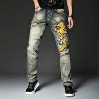 Embroidery Mens Jeans Casual Jeans Men Stretch Designer Straight Ripped Skinny Jeans Men Quality Biker Jean Pants Trousers A5277
