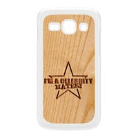 Carved on Wood Effect_Celebrity Hater White Hard Plastic Case for Galaxy Ace 3 by Chargrilled