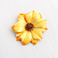 Vintage Yellow Orange Enamel Brooch - Retro Two Tone 1960s Mod Costume Jewelry Pin / Large Floral