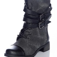Bamboo Shoes Canvas The Pavement Strappy Combat Boots - Black