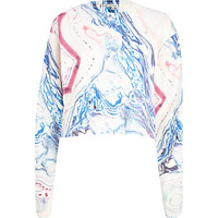 River Island Womens Cream marble print cropped sweatshirt