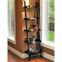 Five Tier Leaning Wall Shelf - Black