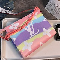 LV Louis Vuitton New Fashion Ladies Rainbow Colors Shoulder Bag Cosmetic Bag