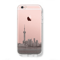 Pudong Skyline Shanghai China iPhone 6s Clear Case iPhone 6 Cover iPhone 5S 5 5C Hard Transparent Case C018