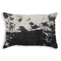 """12"""" x 20"""" Black and White Cowhide Pillow"""