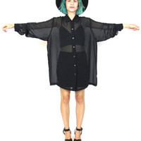 90s Sheer Black Shirt Goth Long Sleeve Oversize Blouse Slouchy Minimalist Button Down See Through Top (L/XL)