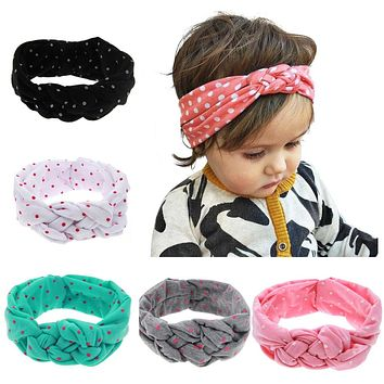 LALeben Knitted Cotton Elastic Headbands For Girls Rabbit Ears Baby Girls Hairband Toddler Turban Spandex Baby Hair Accessories