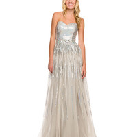 Silver Sequin Strapless Sweetheart Dress 2015 Prom Dresses