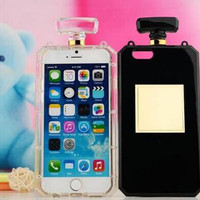 Clear Black Perfume bottle Phone Cases TPU Silicon Cellphone Accessories For iPhone 5s 6s 7 7plus Free Shipping
