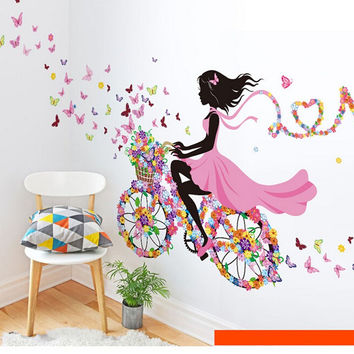Fairy Girl Butterfly Flowers Wall Decals