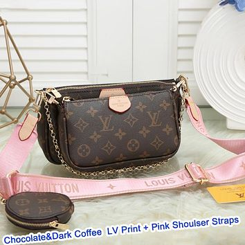 elainse29 LV Bag Louis Vuitton Classic Women Leather Handbag Tote Shoulder Bag Satchel Three-Piece Available in 36 colors White pink shoudler straps