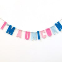 I'm a Unicorn felt room banner, colorful wall hanging in pink, baby blue, soft pink and blue