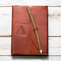 Letter A Alphabet Handmade Leather Journal